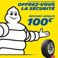 jusqu'à 100€ de réduction sur vos pneus Michelin